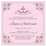 First Holy Communion or Confirmation invite in brown and pink for girls
