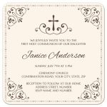 Elegant first holy communion or confirmation invitation with brown cross on a cream ivory colored background