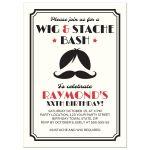 Fun, retro wig and handlebar moustache birthday invite