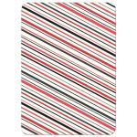 Striped back of red and black wig and mustache flat thank you note card