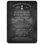 Decorative Chalkboard First Holy Communion invitation