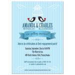 Two Birds and a Birdcage Blue Wedding Engagement invitation