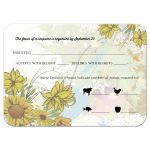 Yellow Sunflower Floral and Swirls Wedding Response Card