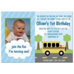 Bus town birthday invitation