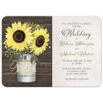Wedding Invitations - Rustic Burlap & Lace Tin Can Sunflower