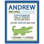 Alligator New Baby Birth Announcement Art Print