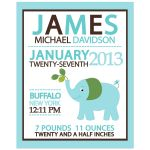 Blue Elephant Boy Birth Announcement Print