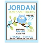 Owl Woodland Blue Boy Birth Announcement Print