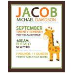 Giraffe Birth Announcement Print