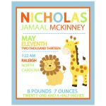 Giraffe and Lion Birth Announcement Print