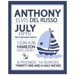 Nautical Sailboat Blue Boy Birth Announcement