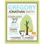 Woodland Boy Birth Announcement Print