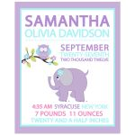 Purple Elephant and Owl Girl Birth Announcement Print