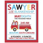 Firetruck Custom Baby Birth Announcement