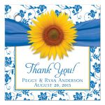 yellow sunflower cornflower blue white personalized wedding gift tags front