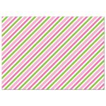 Pink and green stripes, back of flat notecard