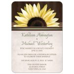 Reception Only Invitations - Country Sunflower Over Wood Rustic