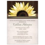 Bridal Shower Invitations - Country Sunflower Over Wood Rustic