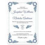 Pretty floral wedding invitation with cute flower corner elements in shades of blue and blue green