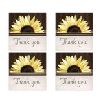 Thank You Stickers - Country Sunflower Over Wood Rustic