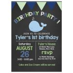 Little Blue Whale Chalkboard Birthday Invitation Mint Green and Navy Blue