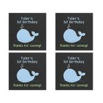 Little Blue Whale Chalkboard Square Favor Stickers