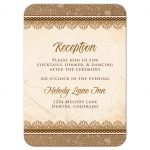 Elegant rustic burlap and lace wedding reception insert card front