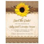 Rustic yellow sunflower lace, burlap and wood country wedding save the date invitation front