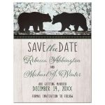 Save the Date Cards - Rustic Bear Floral Wood