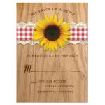 Rustic Gingham & Lace Sunflower Wedding Invitations front