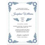 Cute bridal shower with blue and blue green floral corner decorations perfect for flower garden themed showers