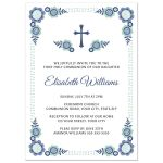 Cute first holy communion or confirmation invitation for girls with pretty blue flowers.