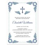 Cute and modern baptism or christening invitation for baby girls featuring blue and blue-green flowers and a whimsical double dot border.