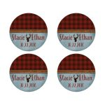 Best red buffalo plaid, denim and stag head wedding stickers