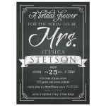 Chalkboard future mrs bridal shower invitation front