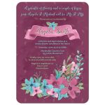 Watercolor floral bridal shower invitation purple turquoise pink front