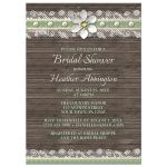 Bridal Shower Invitations - Wood and Lace Green