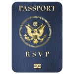 Modern Simulated Passport Destination Wedding Response Card