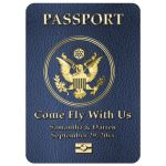 Modern Simulated Passport Destination Wedding Invitation