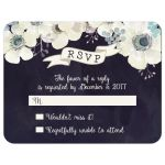 Watercolor blue and purple wedding RSVP flat card