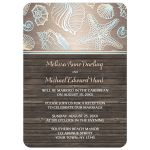 Reception Only Invitations - Rustic Wood Beach Seashell