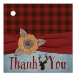 Best rustic red and black plaid wedding favor tag with denim blue, ribbon, burlap flower and deer
