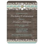 Birthday Invitations - Wood and Lace Turquoise