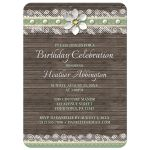 Birthday Invitations - Wood and Lace Green