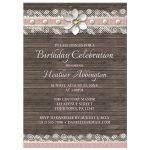 Birthday Invitations - Wood and Lace Pink