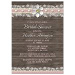 Bridal Shower Invitations - Wood and Lace Pink