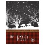 Best rustic winter woodland wedding rsvp card with bears, trees, and snow