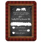 Great winter wedding reply card with chalkboard, snowflakes and bears