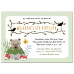 Cute woodland birthday party invitation for children with bear cub, black birds, mushrooms and mossy rock.
