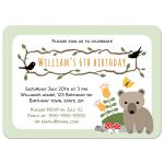 Woodland birthday invite for kids with cute bear cub and mushrooms.